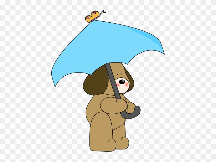 Dog Under Umbrella Clip Art - Dog With Umbrella Clipart #9381