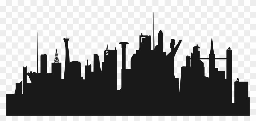 City Clipart Cityscape - Futuristic City Skyline Silhouette #9390