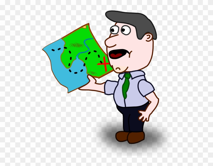 Man Holding Map Clip Art - Man With A Map Clipart #9426