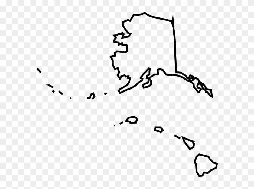 Alaska Hawaii Map Clip Art - Alaska And Hawaii Map #9427
