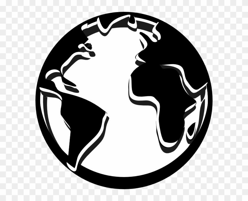 Globe Black And White Outline - Globe Logo Black And White #9445