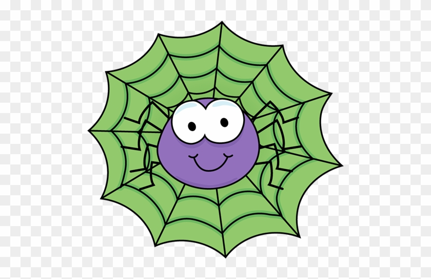 Spider In A Green Spider Web Clip Art - Clipart Images Of Spider #9491