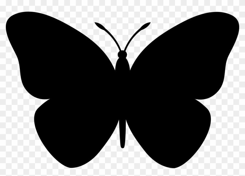 Black Butterfly Silhouette - Butterfly Clip Art Black #9560