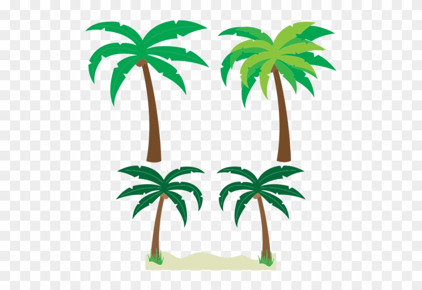 Palm Trees Silhouette Vector Drawing Public Domain - Small Cartoon Palm Tree #9625