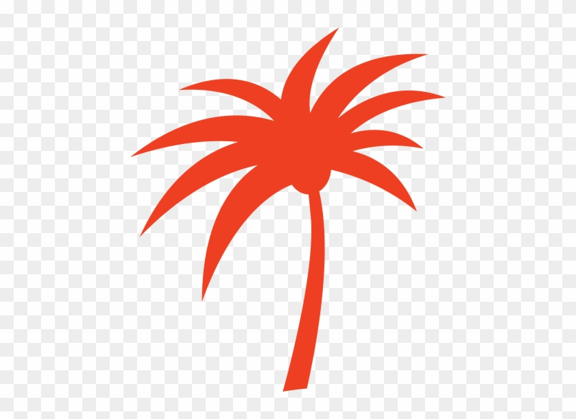 A Red Palm Tree Silhouette - A Red Palm Tree Silhouette #9751