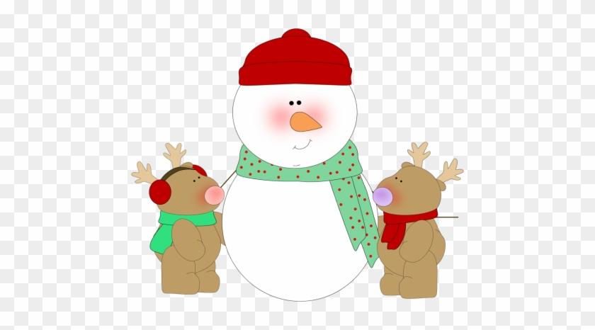 Snowman And Reindeer - Snowman Clip Art #9941