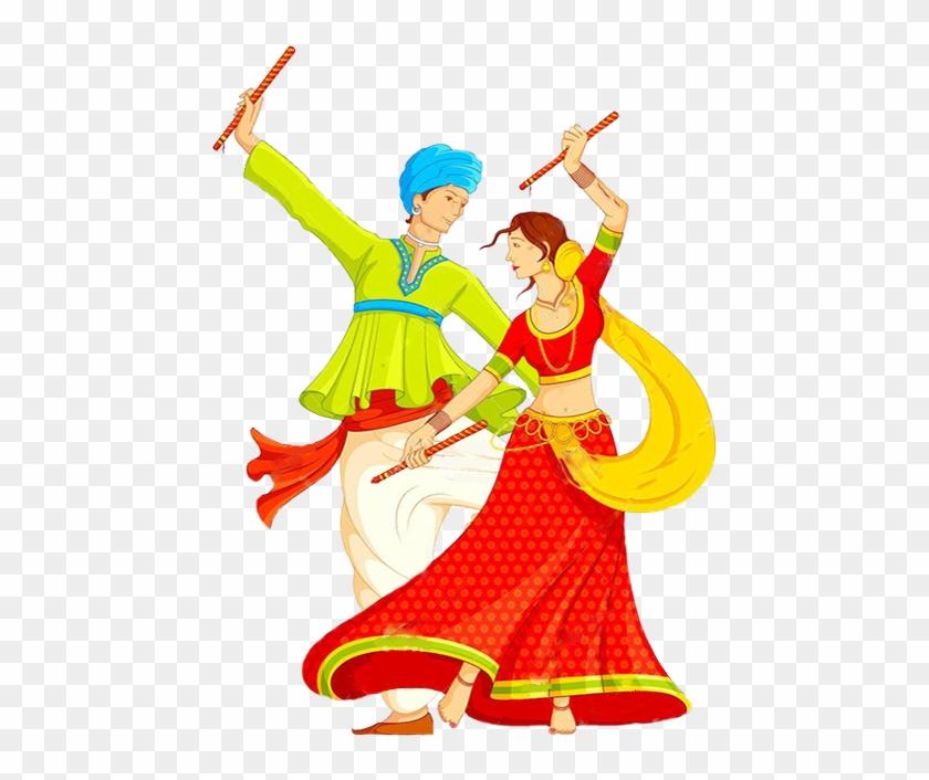 Dandiya Dance Clipart - Navratri Mailer #10200