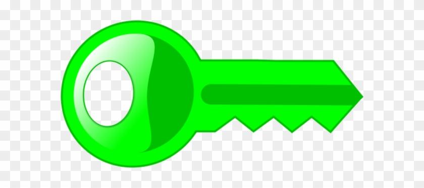 Key Clipartlored Key Pencil And Inlor - Clip Art Green Key #10258