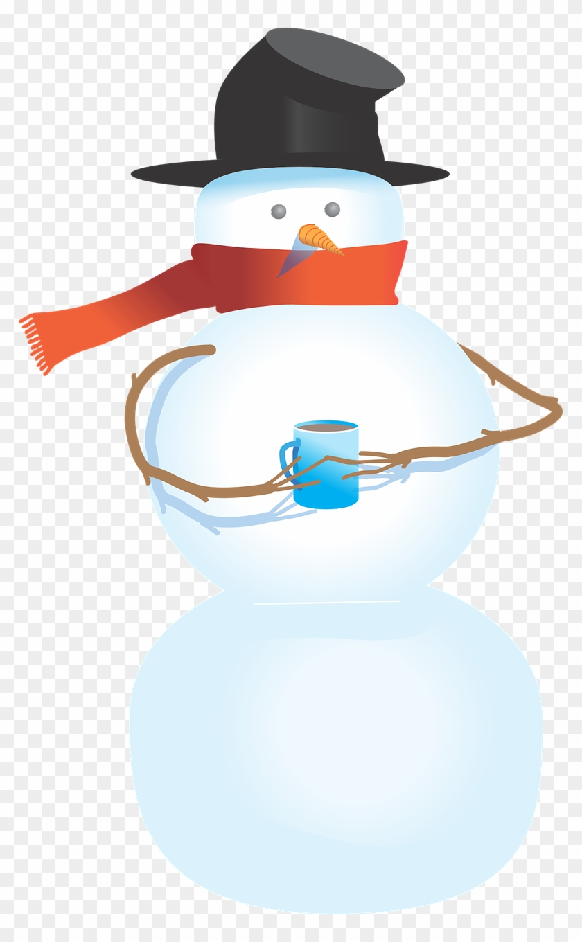 Snowman Free To Use Clipart - Snowman Holding A Cup #10291
