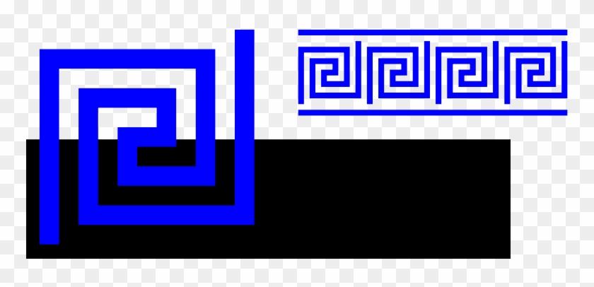 Greek Clip Art - Blue Greek Key Border #10306