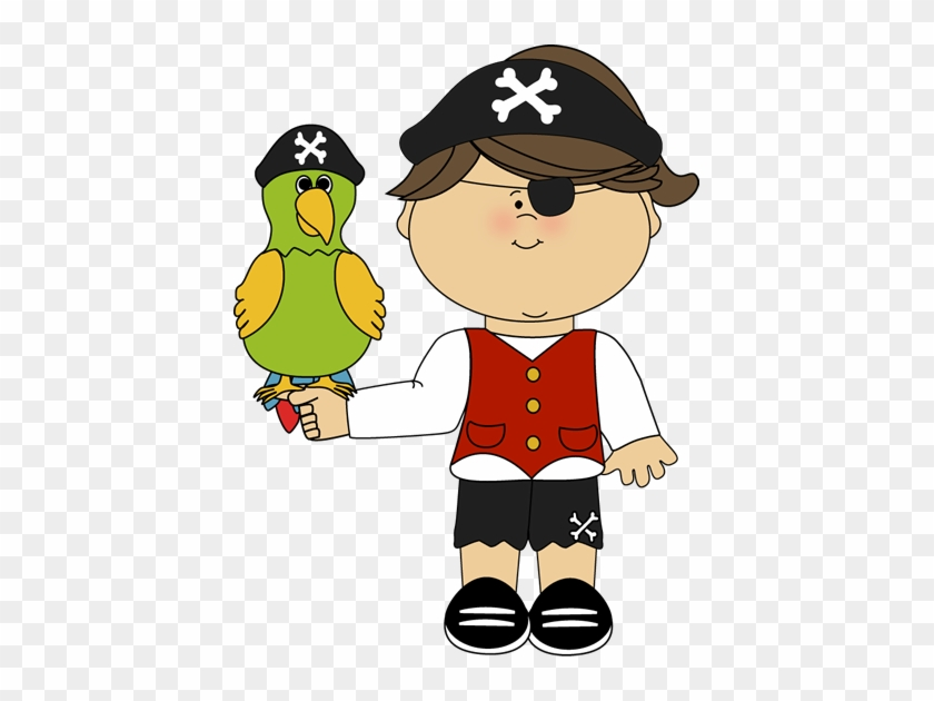 Pirate Girl With Parrot Clip Art - Pirate Clipart #10378