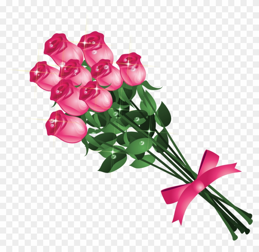 Transparent Pink Roses Bouquet Png Clipart Picture - Good Afternoon My Friend #10541