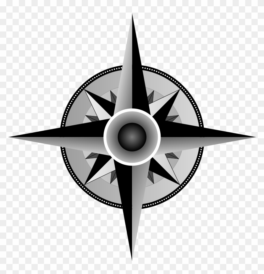 Compass Rose Pictures Clip Art - Grayscale Compass #10534