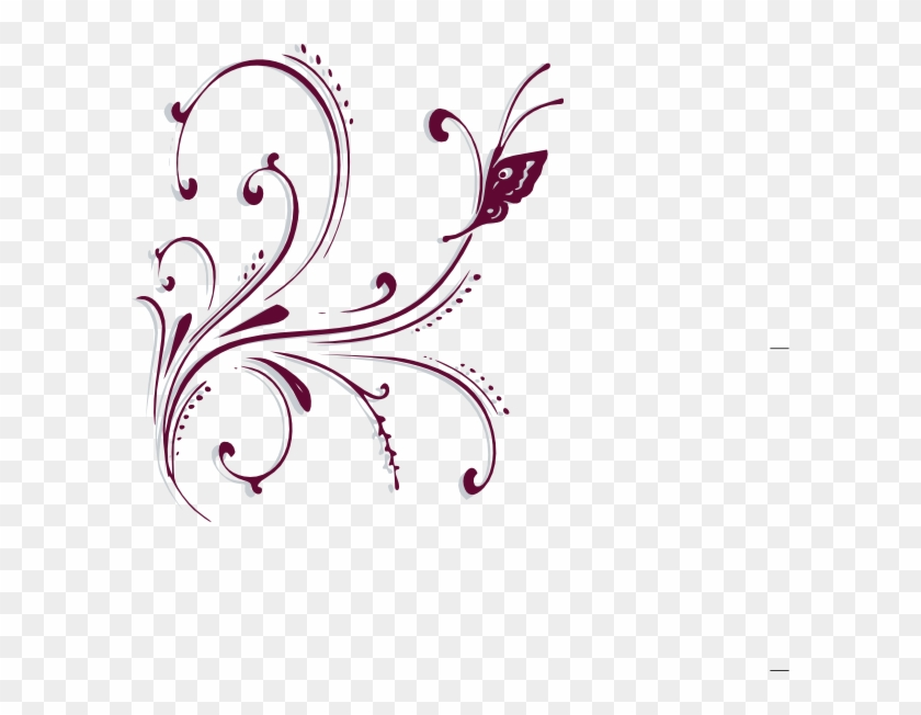 Purple Butterfly Scroll Clip Art At Bclipart Com Vector - Write Here Notebooks: Butterfly Notebook/journal/diary #10734