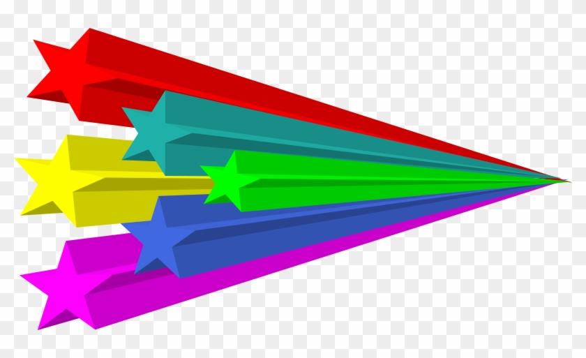 Stars Vector 3d Svg Vector File Clip Art Svg - Estrellas Fugaces De Colores #10754