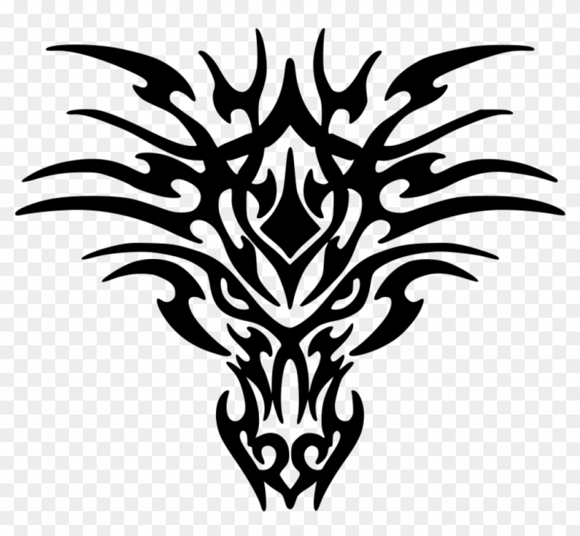 Dragon Clipart Black And White Dragon Clipart Black - Tribal Dragon Head Tattoos #10770