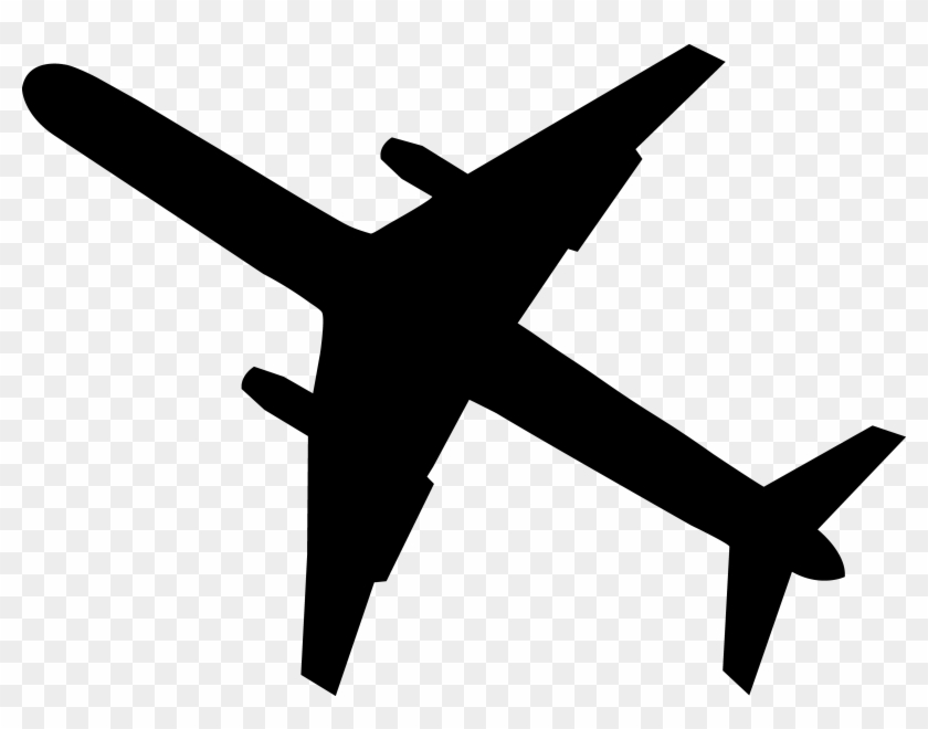 Black Airplane Silhouette - Drawing Of A Plane Simple #10795
