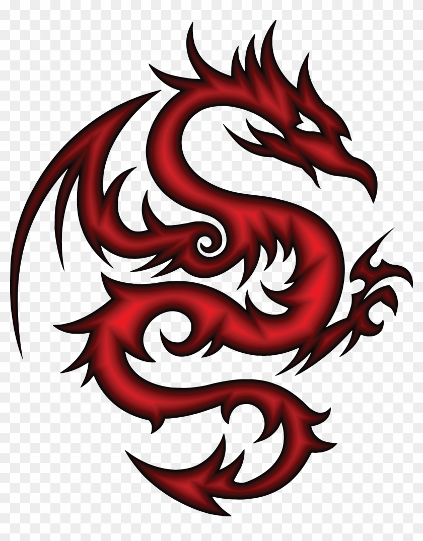 Red Dragon Clipart Free - Tattoo Tribal Dragon Red #10839