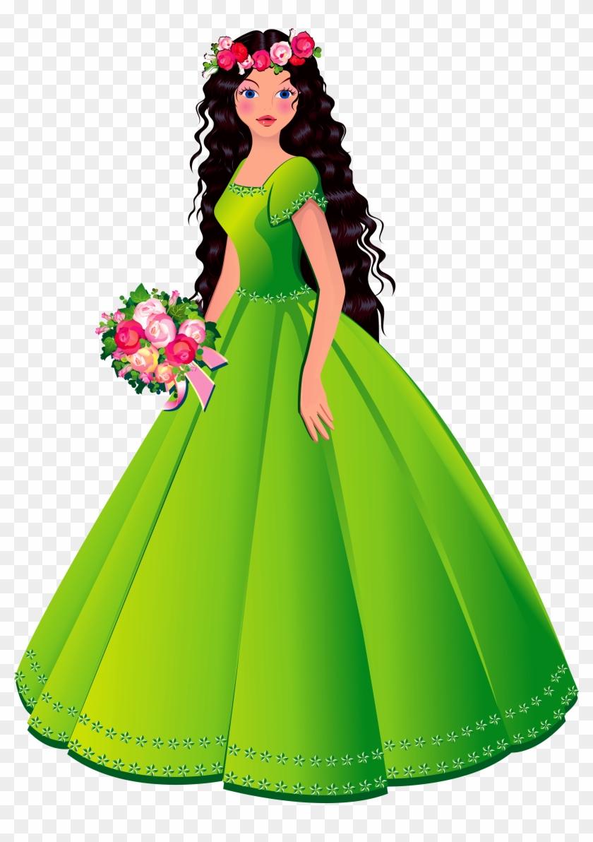 Princess Dresses Clipart - Princesa Con Vestido Verde #11362