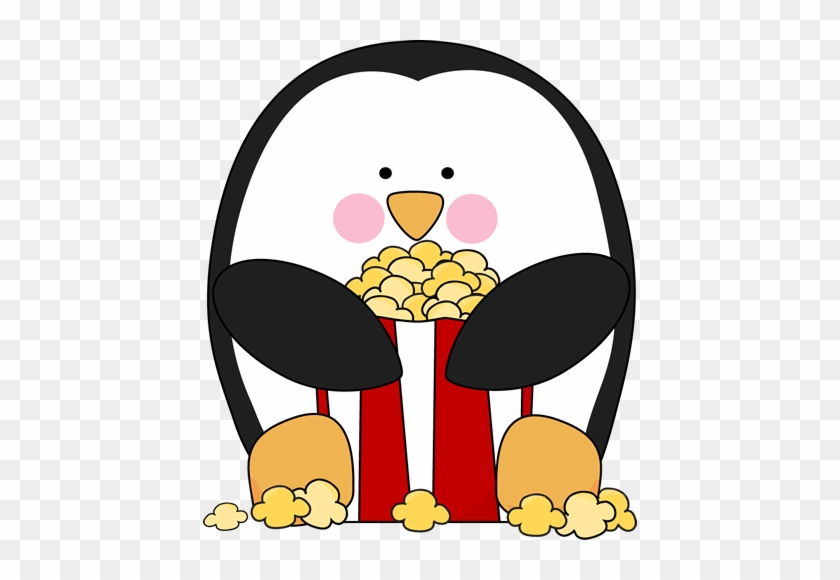 Popcorn Clipart - Penguin And Popcorn #11374