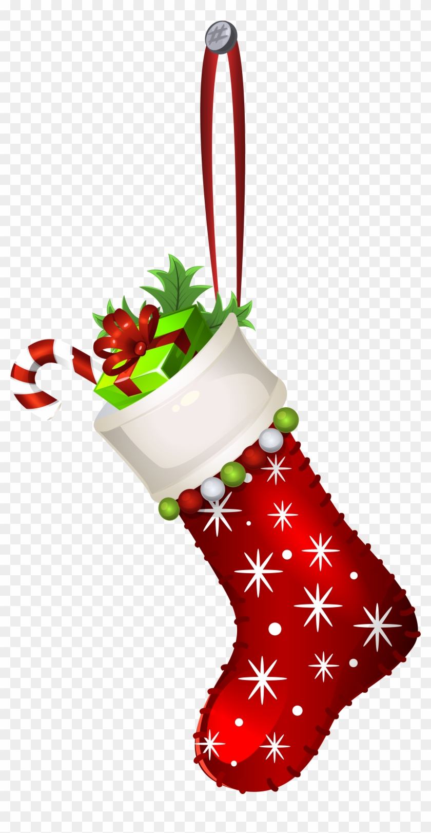 Red Christmas Stocking Transparent Png Clip Art Image - Christmas Stocking Png #11454