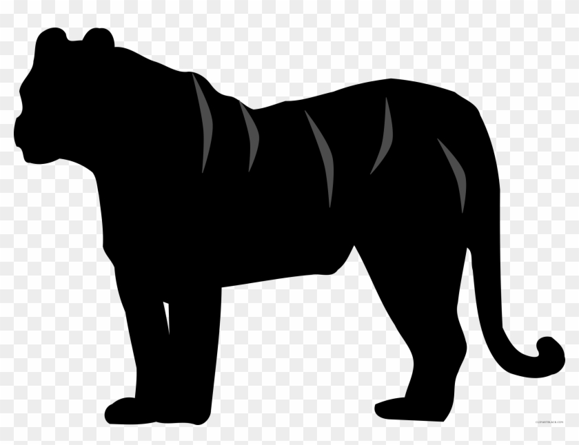 Tiger Silhouette Animal Free Black White Clipart Images - Tiger Clipart Black #11473