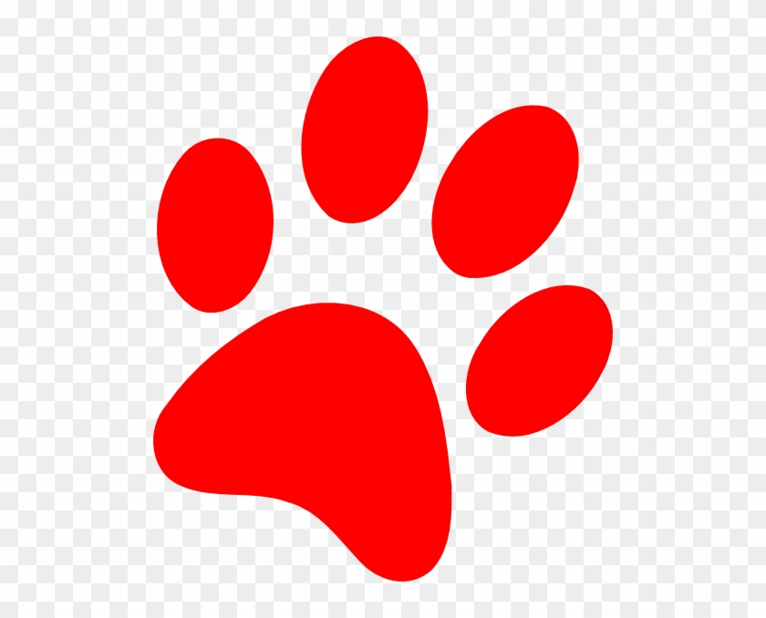 Red Puppy Paw Print Clip Art - Red Paw Print #11751