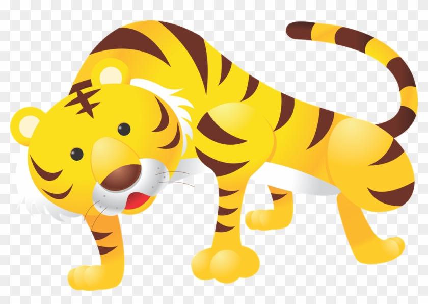 Tiger Clipart Yellow - Animal Wall Sticker - Panda Wall Decal #11806