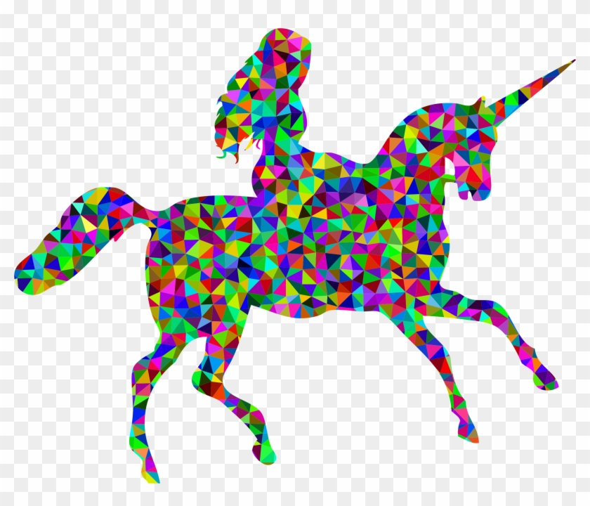 Poly Prismatic Woman Riding Unicorn - Riding Unicorn Png #11868