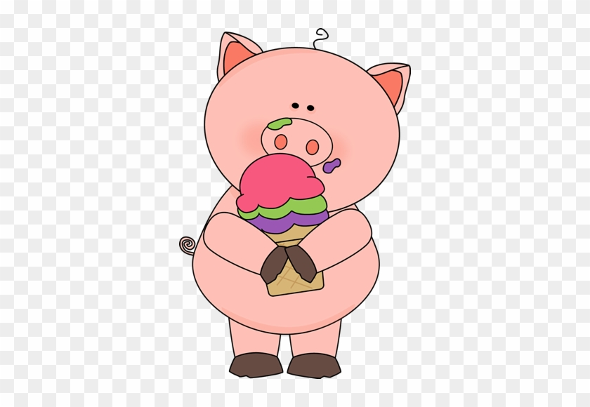 Pig Eating Ice Cream - My Cute Graphics Pig #11871
