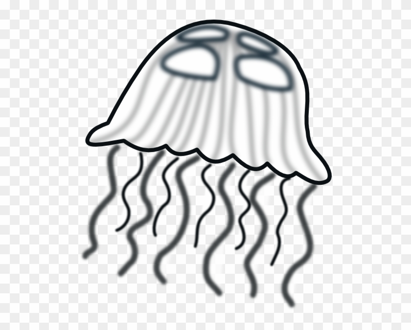 Jellyfish Clip Art At Vector Clip Art - Clip Art Black And White Jellyfish #11943