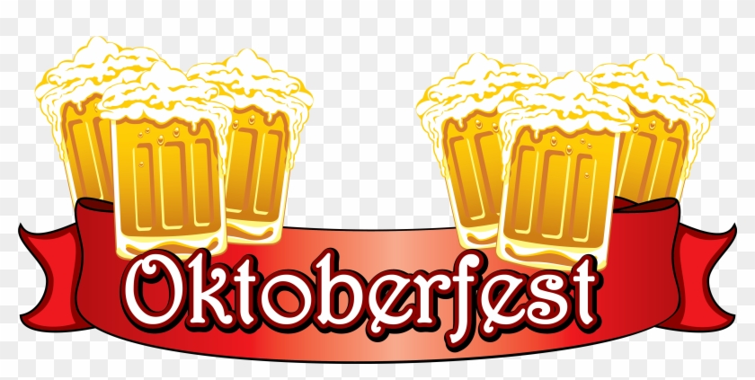 Oktoberfest Red Banner With Beers Png Clipart Image - Oktoberfest Png #11996