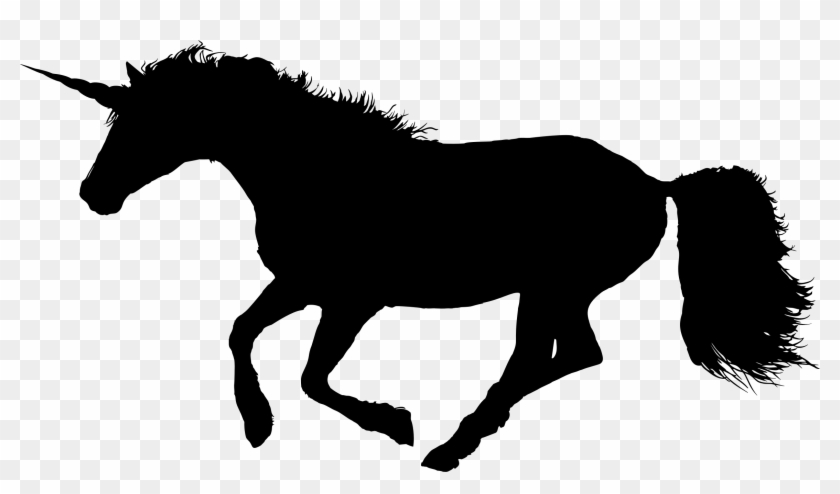 Galloping Unicorn - Silhouette Of A Horse Trotting #12021