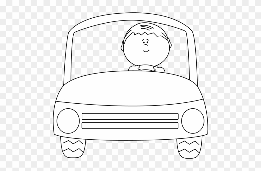 Black And White Kid Driving A Car - Boy In The Car Clipart Black And White #12032