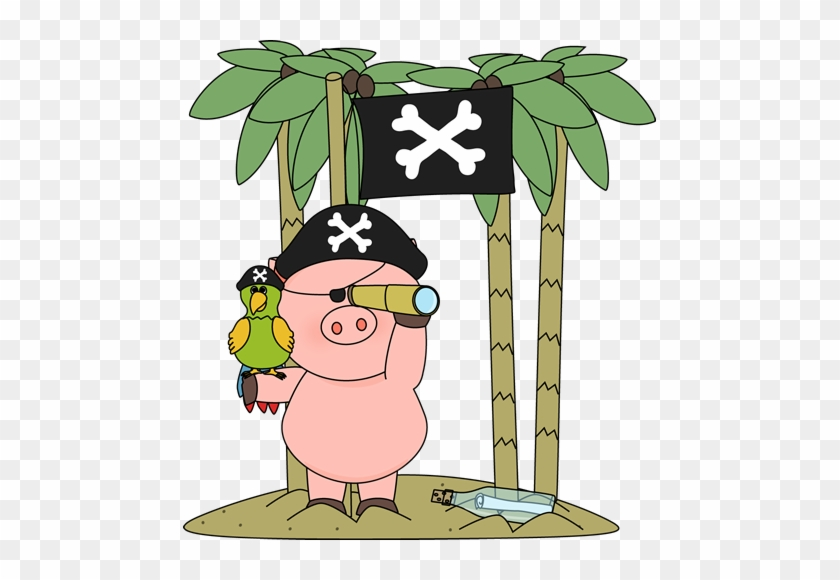 Pig Pirate On An Island - Pirate Pig Clipart #12150