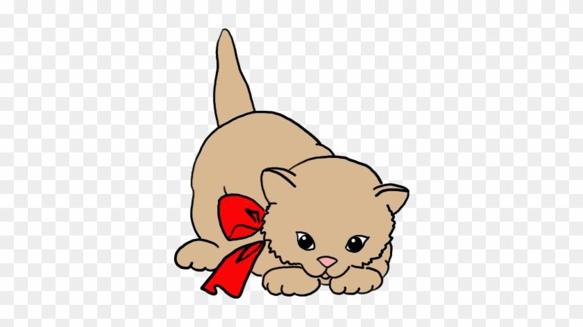 Cute Kitten Clip Art Red Bow - Little Cat Clip Art #12234