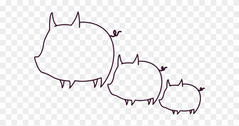 Pig Clipart - Outline Of A Pig #12286