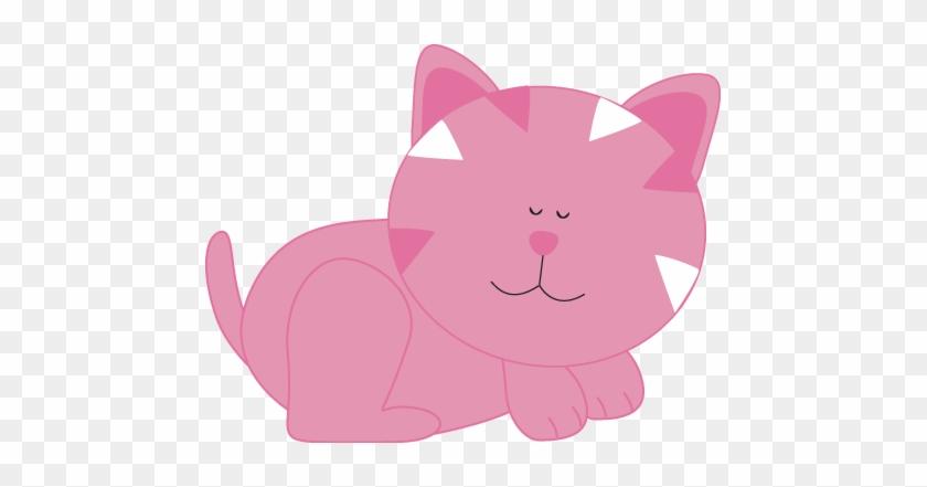 Pink Cat Sleeping - Pink Cat Clipart #12308