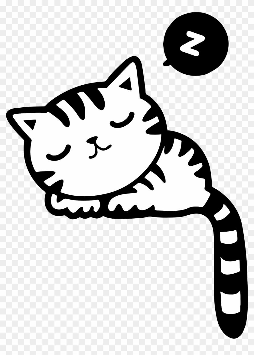 Cat Kitten Clip Art - Sleeping Cat Drawing Clipart #12330