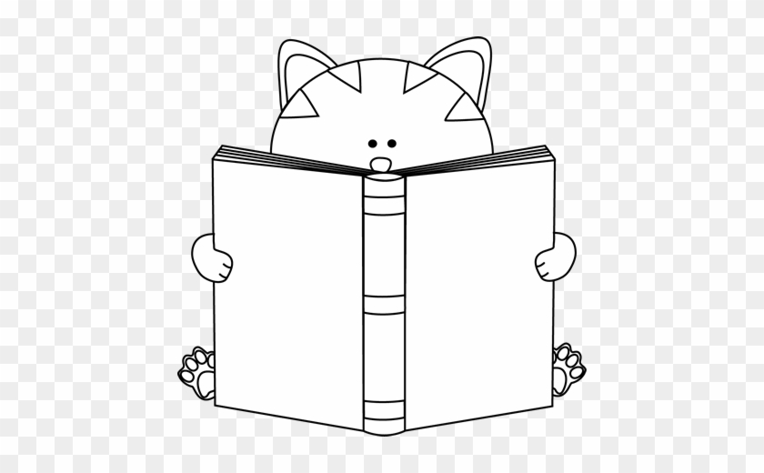 Black And White Cat Reading A Book - Cute Book Clipart Black And White #12331