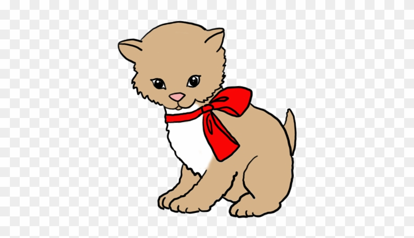 Cute Kitten Clip Art Red Bow - Drawing #12334