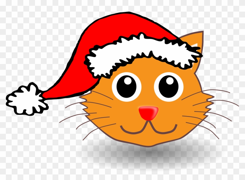 Big Image - Cat With Christmas Hat Clip Art #12342