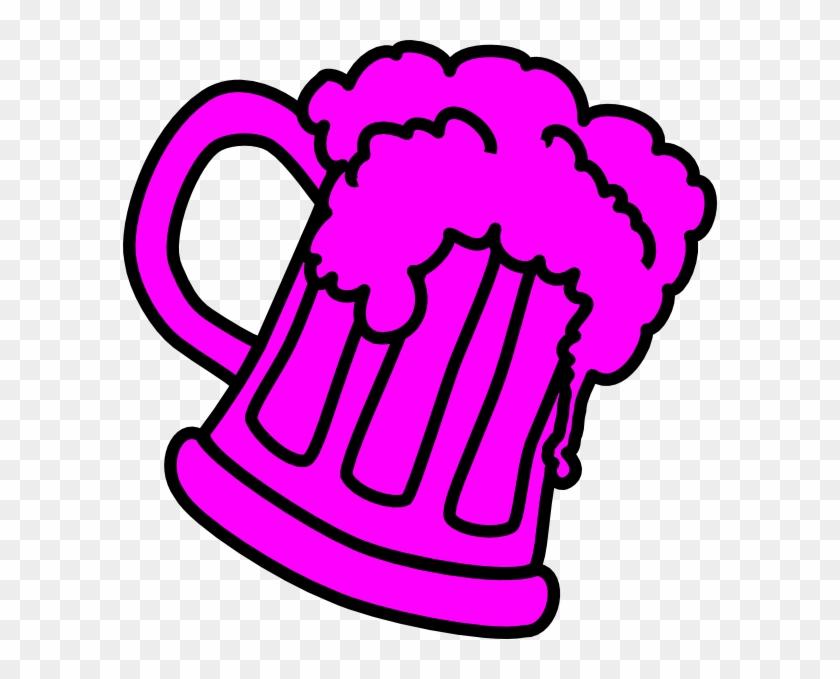 Pink Outline Beer Mug Clip Art - Clip Art #12374