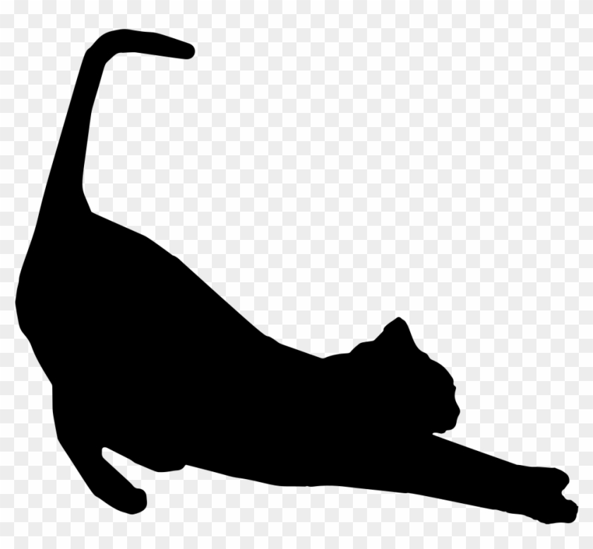 Stretching Cat Silhouette - Stretching Cat Silhouette #12388