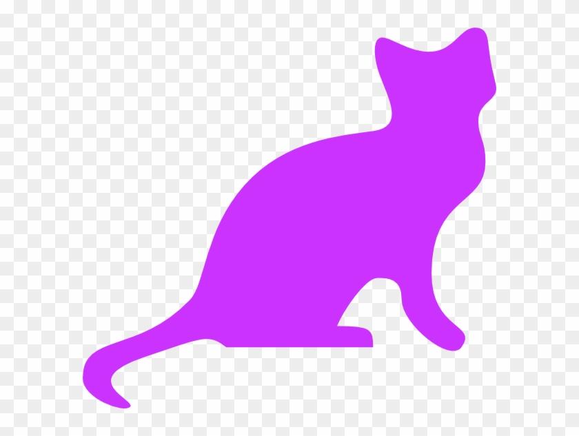 Purple Cat Silhouette - Cat Purple Clipart #12458