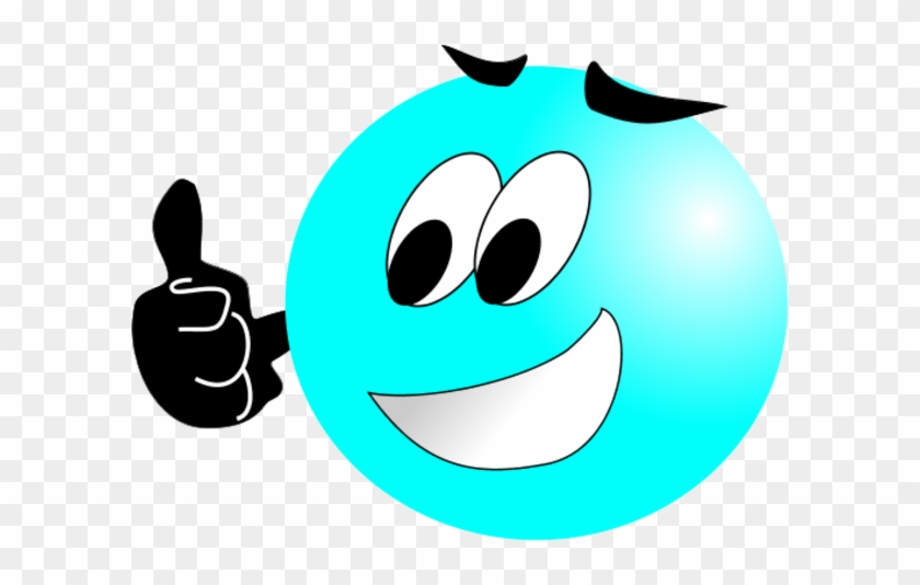 Smiley Face Making Thumbs Up Vector Clip Art - Blue Smiley Face Thumbs Up #12475