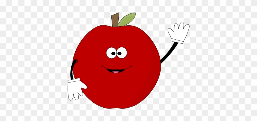 Waving Red Apple Clip Art Image Clipart Face - Apple Fruit With Face #12538