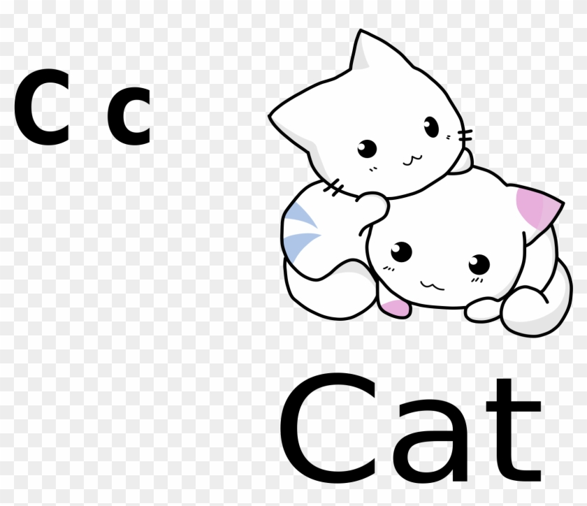 C For Cat Black White - Cute Cartoon Cat Drawing #12565