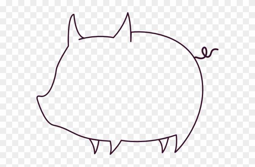 Pig Outline Clip Art - Outline Of A Pig #12592
