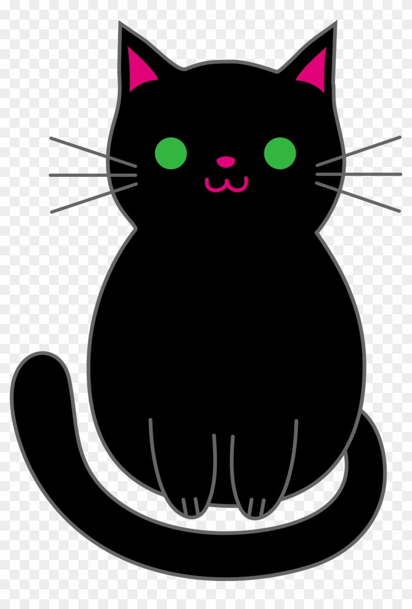 Anime Black Clipart - Cute Black Cat Animated #12697